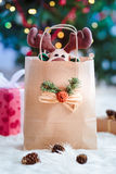 Reindeer toy in a bag for Christmas gift Royalty Free Stock Images
