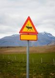 Reindeer warning sign, Iceland Stock Photos