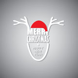 Reindeer wearing santa claus hat & greeting merry christmas  & h Stock Image
