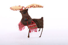 Reindeer on White Glittery Paper Royalty Free Stock Image