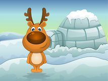 Reindeer in Winter, illustration Stock Photo
