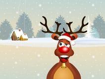 Reindeer in winter. Illustration of reindeer in winter Stock Photos