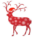Reindeer With Santa Hat Vector Illustration Stock Images
