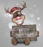 Reindeer Wood Board Sign Stock Image