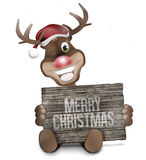 Reindeer Wood Board Sign Stock Photography