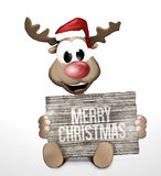 Reindeer Wood Board Sign red color image 3d Stock Photography
