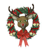 Reindeer Wreath Stock Image