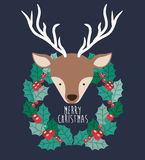 Reindeer and wreath of Merry Christmas design Stock Photos