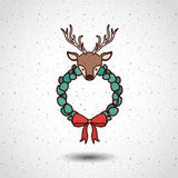 Reindeer and wreath of Merry Christmas design Royalty Free Stock Photography