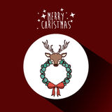 Reindeer and wreath of Merry Christmas design Stock Image
