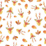 Reindeers and autumn leaves-watercolor seamless hand draw patter Royalty Free Stock Photos