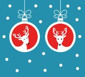 Reindeers Christmas baubles background Vector illustration. Reindeers in hanging baubles ornaments Christmas blue background. Vector illustration Stock Photography