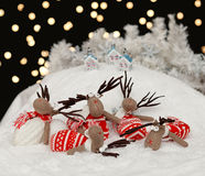 Reindeers in the Christmas night Stock Photos