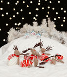 Reindeers in the Christmas night Royalty Free Stock Image