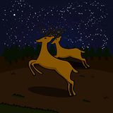 Reindeers on a field at night. Cartoon illustration showing a couple of reindeers running on a field at night Stock Image