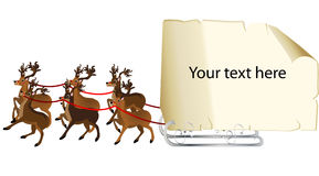 Reindeers fly with a  message sign Royalty Free Stock Images