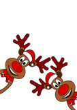 Reindeers with hat. Christmas Reindeers with red nose on white background Stock Photo