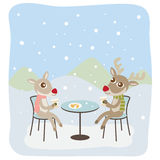 Reindeers Having Coffee Stock Photo