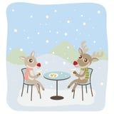 Reindeers Having Coffee. Vector illustration of a reindeer couple having coffee in winter Stock Photo