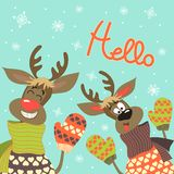 Reindeers say hello. At vector greeting card Stock Images