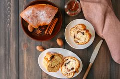 Reindling - Austrian or German festive yeasty baking for Easter. Brioche cake served in a plate and tea on a wooden stone background Stock Images