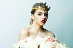 Reine avec le bouquet rose Photographie stock