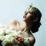 Reine avec le bouquet rose Photos libres de droits