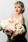Reine avec le bouquet rose Images libres de droits