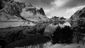 Reine in black and white. Reine in the Lofoten Island& x27;s in a black and white version Stock Photo