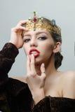 Reine dans la couronne précieuse Image stock