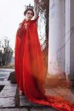 Reine dans le manteau rouge photo stock