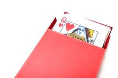 Reine de coeur dans une boîte de cartes Photographie stock