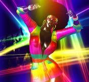 Reine de disco, avec la rétro coiffure fabuleuse d'Afro Photographie stock libre de droits