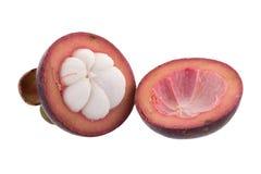 Reine de mangoustans des fruits, fruit mûr de mangoustan d'isolement sur W Photographie stock libre de droits