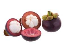 Reine de mangoustans des fruits, fruit mûr de mangoustan d'isolement sur W Photo libre de droits