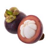 Reine de mangoustans des fruits, fruit mûr de mangoustan d'isolement sur W Photographie stock