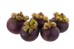 Reine de mangoustans des fruits, fruit mûr de mangoustan d'isolement sur W Photos libres de droits