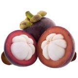 Reine de mangoustans des fruits, fruit mûr de mangoustan d'isolement sur W Image libre de droits