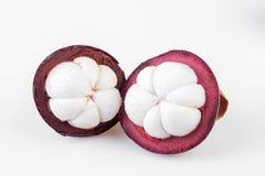 Reine de mangoustans des fruits, mangoustan sur le fond blanc Image stock
