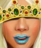 Reine de neige avec une couronne avec des rubis de diamants et des saphirs dans le style de la peinture à l'huile Image libre de droits