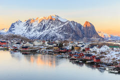Reine fishing village. Reine is a little beautiful fishing village in Lofoten Islands in Norway Stock Photo