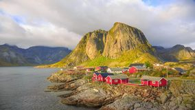 Reine fishing village in Lofoten Islands, Norway stock video footage