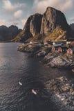 Reine fiskel?ge i Lofoten ?ar, Norge arkivbild