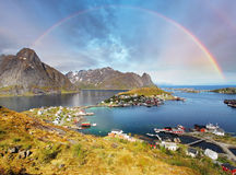 Reine by fjord on Lofoten islands in Norway Stock Photos
