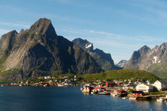 Reine in Lofoten. The village of Reine, For the Times Magazine the most beautiful place in the world royalty free stock photography