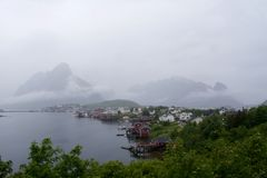Reine on the Lofoten on a cloudy day Royalty Free Stock Photos