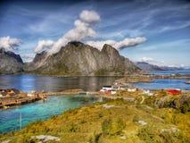 Reine Lofoten Island Norway. Scenic village of Reine by the fjord on Lofoten islands, Norway stock photos