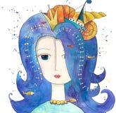 Reine magique de mer avec des poissons, bateau, coquillages illustration libre de droits