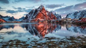 Reine, Norway. Sunrise in the  fishing village Reine on Lofoten Islands in Norway Stock Photography
