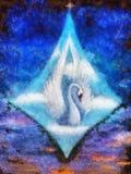 Reine rayonnante des cygnes dans les cieux en nuages blancs, belle peinture à l'huile détaillée sur la peinture originale de toil Image stock